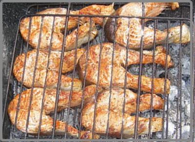 Сазан на костре барбекю печи для барбекю и шашлыка из кирпича фото